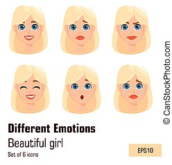 Blonde woman with different face expressions. Young attractive lady with various emotions. Cute businesswoman.