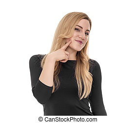 Blonde woman with finger point to her cheek.