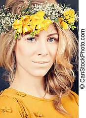 Blonde Woman with Flowers. Natural  Makeup