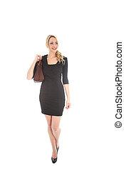 Blonde Woman with Handbag and Elegant Dress - Beautiful...