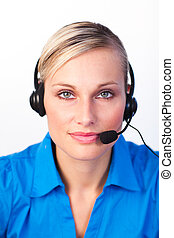 Blonde woman with headset