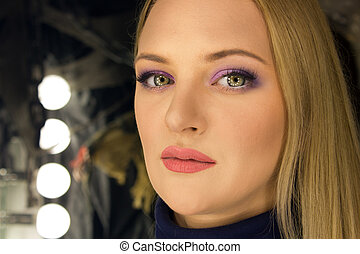 Blonde woman with makeup