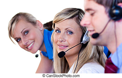 Blonde women in a call center
