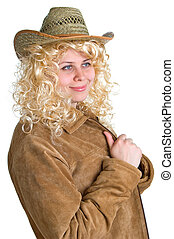 blonde women in a straw hat