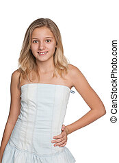Blonde young girl against the white