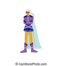 Blonde Young Woman in Bright Superhero Costume, Super Girl Character Standing with Folded Hands Vector Illustration