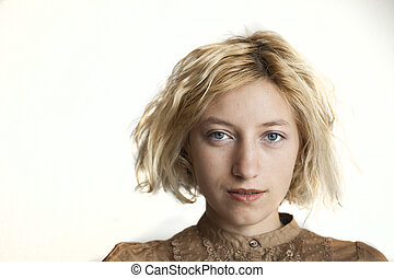 Blonde Young Woman with Beautiful Blue Eyes - Portrait of a...