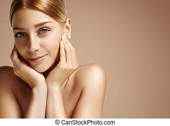 blondie, tocar, bonito, dela, rosto