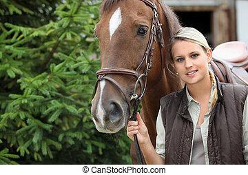 blondin, flicka, med, häst