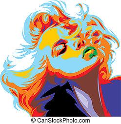 blondin, flicka, titta, lik, marilyn monroe