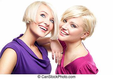 blondin, flickor, attraktiv