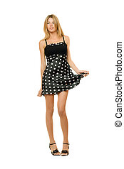 blondin, klänning, ung, attraktiv