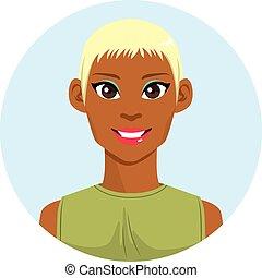 blondin, kvinna, amerikan, afrikansk, avatar