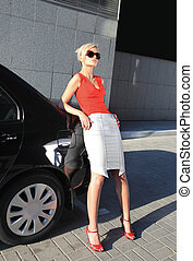 blondin, kvinna, nära, svart, bil