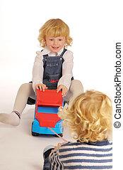 blondin, lurar, leka