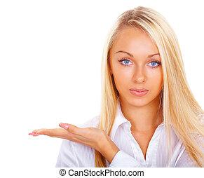 blondin, med, blå