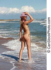blondin, på, a, strand