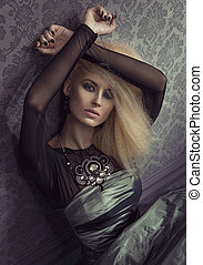 blondin, plats, retro, attraktiv