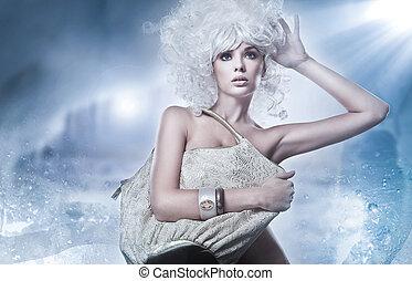 blondin, skönhet, med, väska
