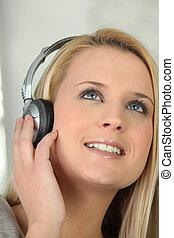 blonds, écouteurs, musique écouter, par, girl