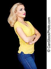 blonds, bras, confiant, beau, plié