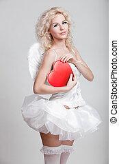 blonds, femme, jeune, costume ange