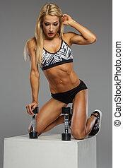 blonds, femme, poser, studio., fitness