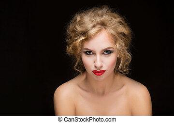 blonds, hair., girl, beau, sexy, blond