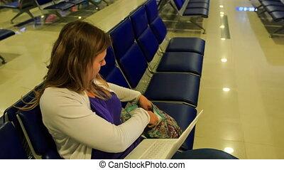 blonds, met, ordinateur portable, terminal, sac, aéroport, ...