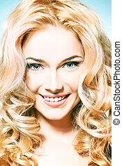 blondy curls - Portrait of a smiling woman with beautiful...