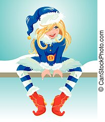 Blondy girl wearing blue Santa Claus costume. Christmas and...
