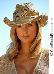 blondy with gold cowboy hut - Blondy with gold cowboy hut...