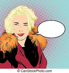 Blondy woman in furs. A woman explaining something. - vector...