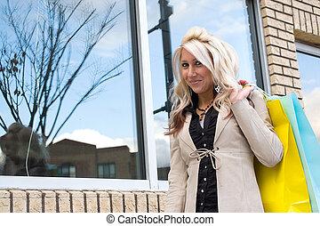 blondynka, ładny, klient