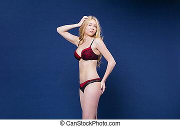 blondynka, bielizna, kobieta, czerwony, sexy