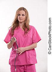 blondynka, doktor, pracownik, pociągający, healthcare, pielęgnować, kaukaski