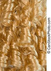 blondynka, kędzierzawy włos