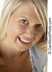 blondynka, kobieta, młody, uśmiechanie się