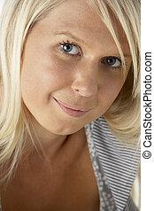 blondynka, kobieta, młody