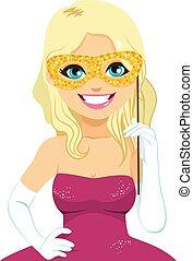 blondynka, kobieta, maska, karnawał