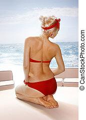 blondynka, kobieta, na, jacht