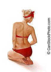 blondynka, kobieta, odizolowany, na białym
