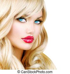 blondynka, kobieta, portrait., piękny, blond, dziewczyna, z, długi, falisty włos
