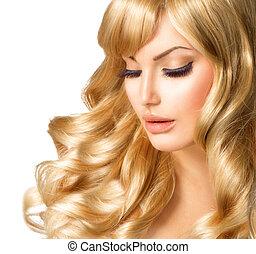 blondynka, kobieta, portrait., piękny, dziewczyna, z, długi, kędzierzawy, blond włos