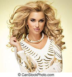 blondynka, modny, dama, posing.