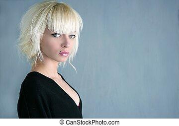 blondynka, piękny, fason, dziewczyna, szare tło