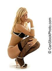 blondynka, szpilka-do góry