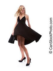 blondynka, w, czarny strój