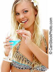 blondynka, z, cocktail