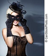 blondynka, z, mięsopustna maska